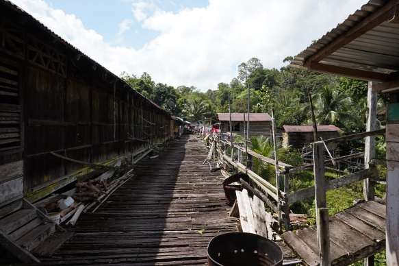 A very old longhouse. Only half of it is still inhabited by this Iban family.